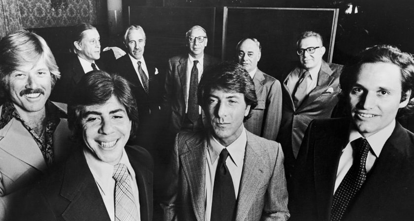 the real life people pictured with the cast who played them at the premiere of all the president's men