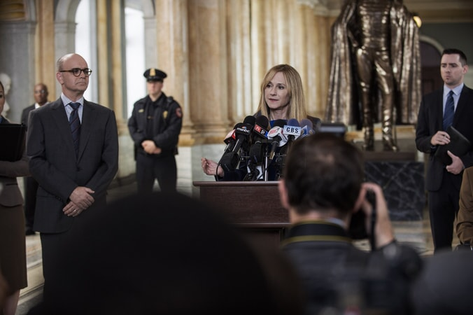 HOLLY HUNTER as Senator Finch