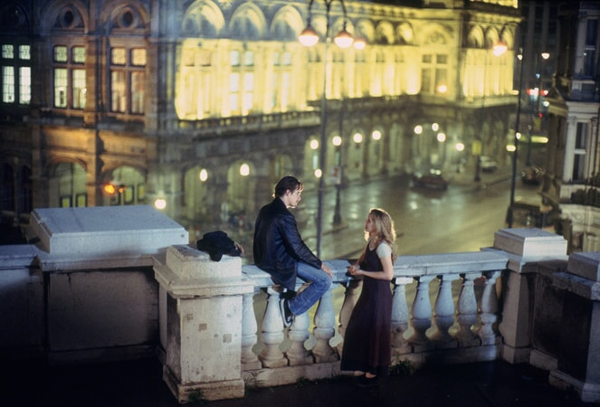 ethan hawke and julie delphy get to know each other in Europe in the romantic hit, before sunrise