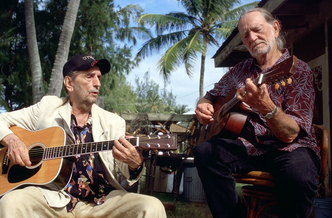 harry dean stanton and willie nelson performing in the big bounce