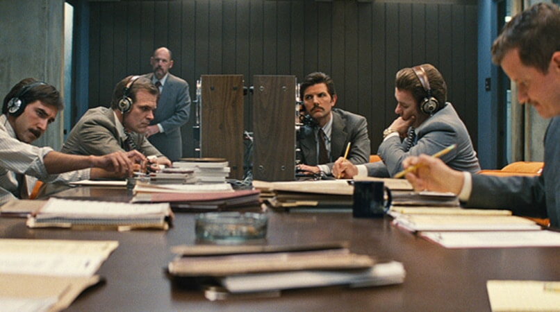 "DAVID HARBOUR as John Morris, ADAM SCOTT as FBI Agent Robert Fitzpatrick and JOEL EDGERTON as John Connolly in the drama ""BLACK MASS."""