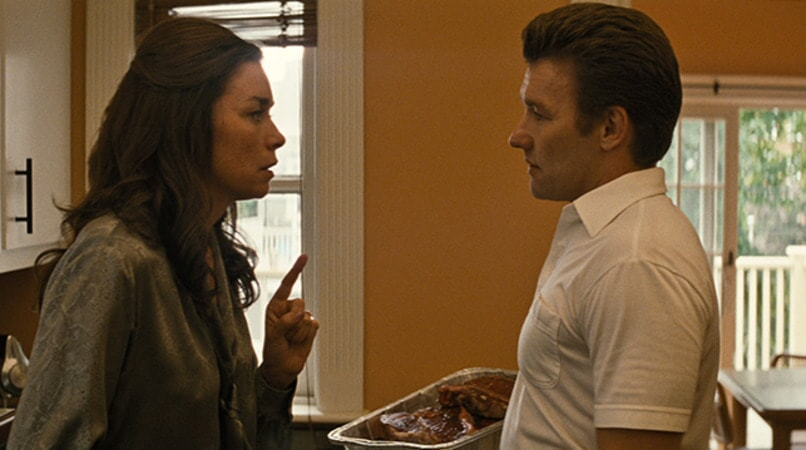 "JULIANNE NICHOLSON as Marianne Connolly and JOEL EDGERTON as John Connolly in the drama ""BLACK MASS."""