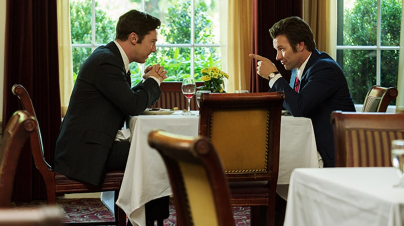 "BENEDICT CUMBERBATCH as Billy Bulger and JOEL EDGERTON as John Connolly in the drama ""BLACK MASS."""