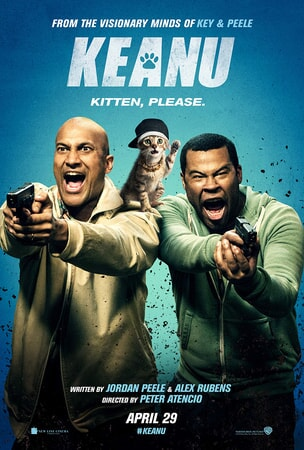 Keanu: Key and Peele holding guns with kitten on their shoulder