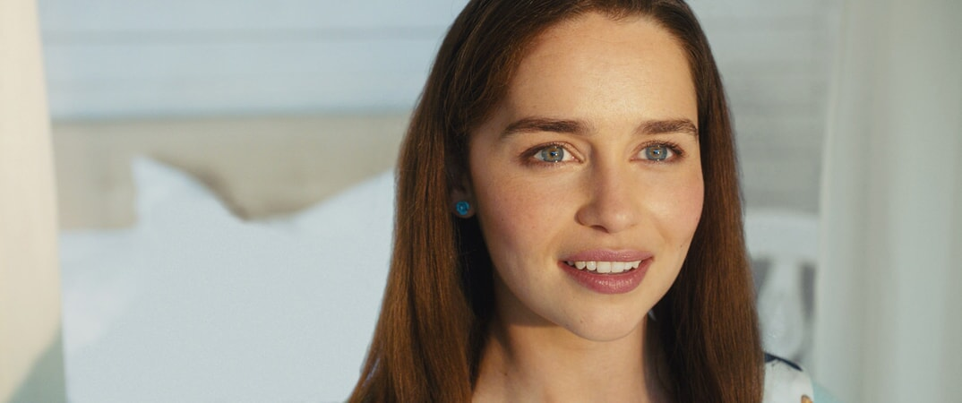 Closeup shot of EMILIA CLARKE as Lou Clark.