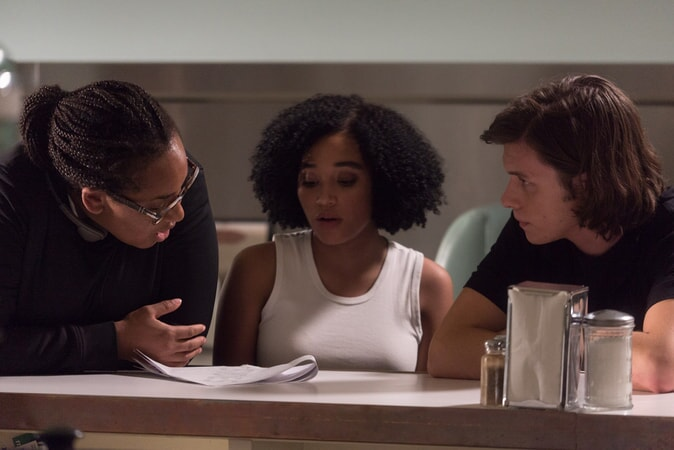 """Director STELLA MEGHIE, AMANDLA STENBERG and NICK ROBINSON on the set of the Warner Bros. Pictures and Metro-Goldwyn-Mayer Pictures romantic drama """"EVERYTHING, EVERYTHING,"""" a Warner Bros. Pictures release."""