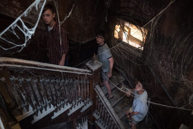 "JAEDEN LIEBERHER as Bill Denbrough, FINN WOLFHARD as Richie Tozier and JACK DYLAN GRAZER as Eddie Kaspbrak in New Line Cinema's horror thriller ""IT,"" a Warner Bros. Pictures release."