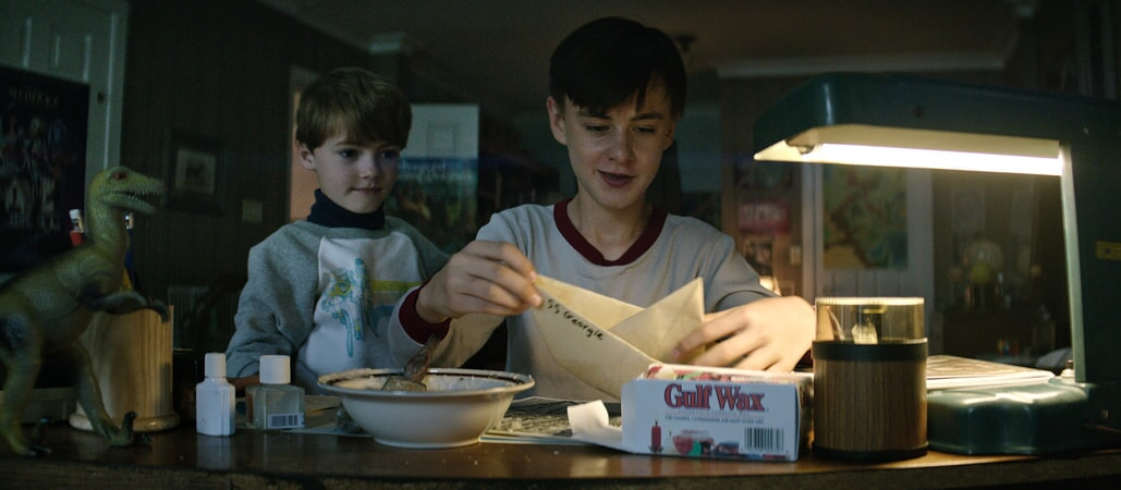 "JACKSON ROBERT SCOTT as Georgie Denbrough and JAEDEN LIEBERHER as Bill Denbrough in New Line Cinema's horror thriller ""IT,"" a Warner Bros. Pictures release."