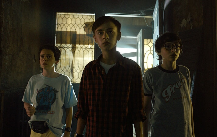 "JACK DYLAN GRAZER as Eddie Kaspbrak, JAEDEN LIEBERHER as Bill Denbrough and FINN WOLFHARD as Richie Tozier in New Line Cinema's horror thriller ""IT,"" a Warner Bros. Pictures release."