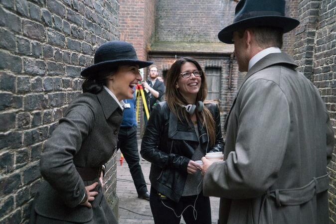 "GAL GADOT, director PATTY JENKINS and CHRIS PINE on the set of the action adventure ""WONDER WOMAN,"" a Warner Bros. Pictures release."