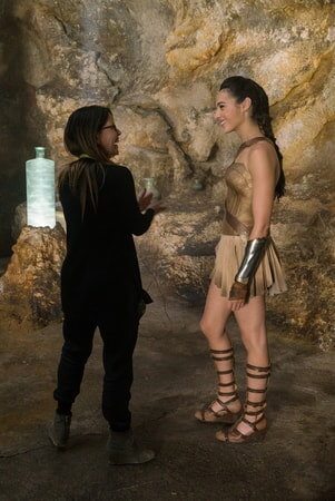 "Director PATTY JENKINS and GAL GADOT on the set of the action adventure ""WONDER WOMAN,"" a Warner Bros. Pictures release."