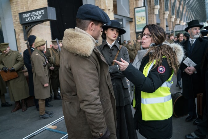 "CHRIS PINE, GAL GADOT and director PATTY JENKINS on the set of the action adventure ""WONDER WOMAN,"" a Warner Bros. Pictures release."