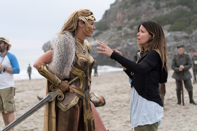 "CONNIE NIELSEN and director PATTY JENKINS on the set of the action adventure ""WONDER WOMAN,"" a Warner Bros. Pictures release."