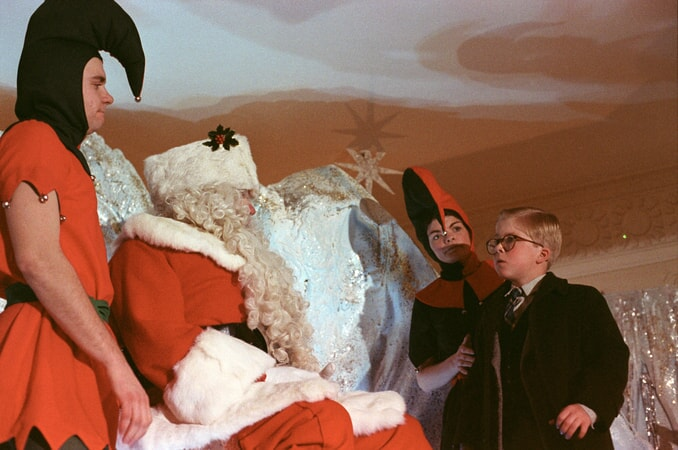 Ralphie approaching Santa
