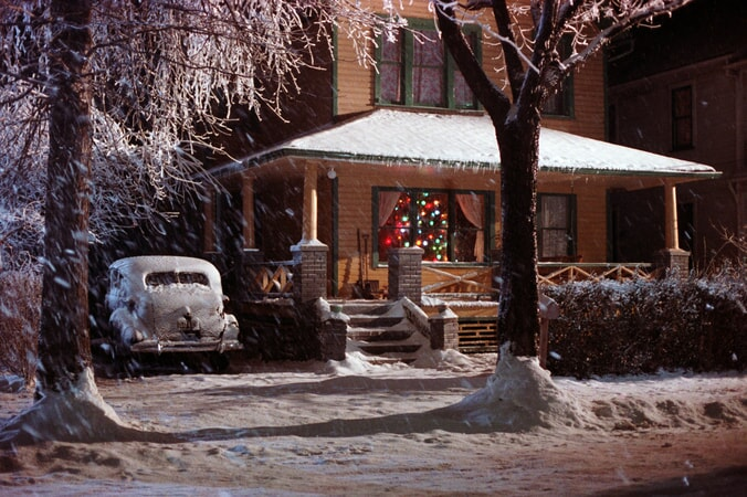 The Christmas Story house after a snowfall