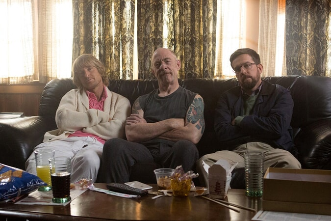"OWEN WILSON as Kyle, J.K. SIMMONS as Roland Hunt and ED HELMS Peter in Alcon Entertainment and Montecito Pictures' comedy ""FATHER FIGURES,"" a Warner Bros. Pictures release."