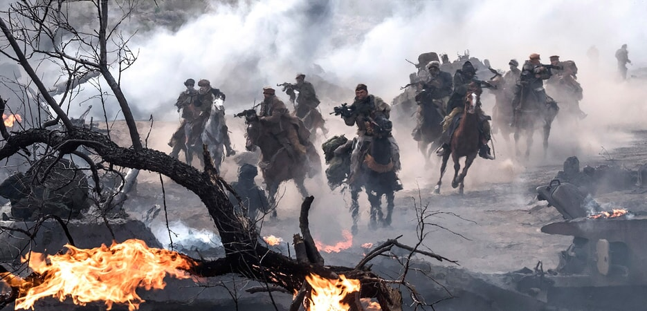 """A scene from Jerry Bruckheimer Films', Black Label Media' and Alcon Entertainment's war drama """"12 STRONG,"""" a Warner Bros. Pictures release."""