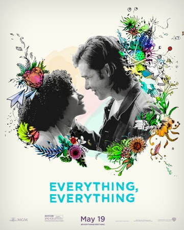 """Maddy and Olly surrounded by drawn flowers with """"Everything, Everything"""" logo below"""