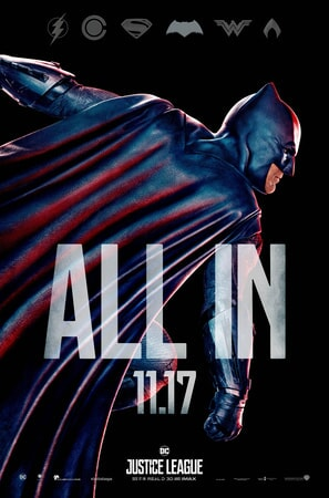 Profile of Batman with ALL IN text superimposed over him