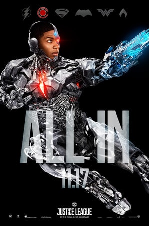 Full shot of Cyborg leaping with ALL IN text superimposed over him