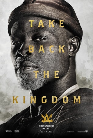 "Close-up of Djimon Hounsou as Sir Bedivere with text that reads ""Take Back the Kingdom"""