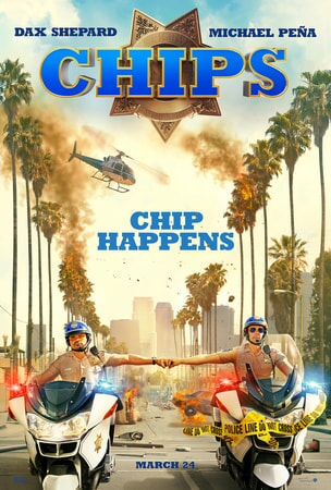 Michael Peña and Dax Shepard on motorcycles in CHiPs