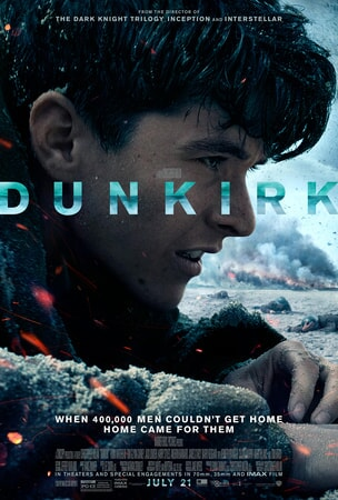 Profile of Dunkirk soldier with logo across middle of poster