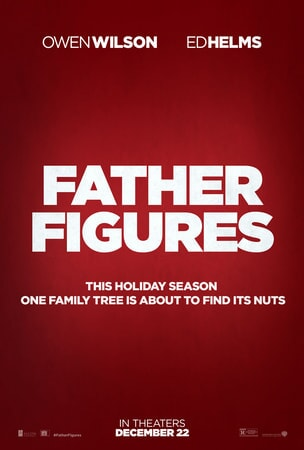 Father Figures keyart - logo in white text with dark red solid background