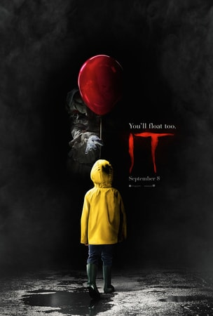 "Back of child being offered a red balloon by a clown coming out of the darkness with ""IT"" logo to the right"