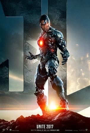 Cyborg standing in front of JL logo