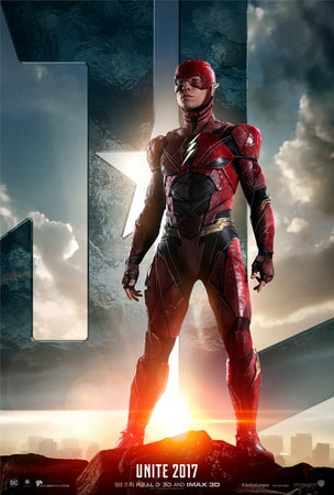 Flash standing in front of JL logo