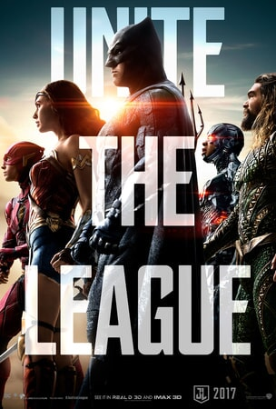 """Justice League members Flash, Wonder Woman, Batman Cyborg and Aqua Man in profile with """"Unite the League"""" in large text over the poster"""