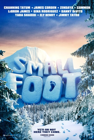 Smallfoot logo carved into snowy alpine mountainscape