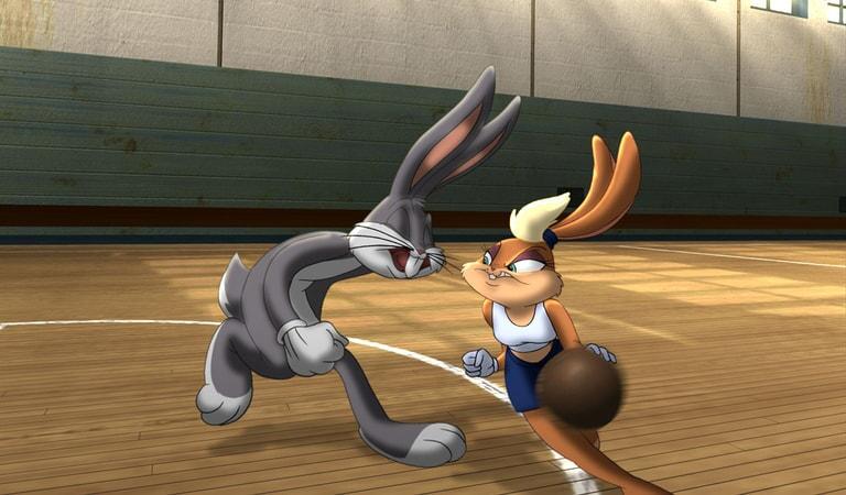 Bugs Bunny and Lola Bunny on the basketball court
