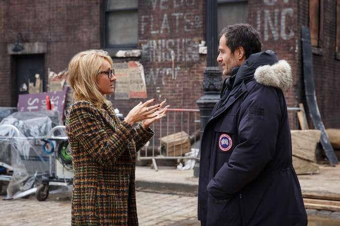 """Screenwriter/producer J.K. ROWLING and producer DAVID HEYMAN on the set of Warner Bros. Pictures' fantasy adventure """"FANTASTIC BEASTS AND WHERE TO FIND THEM,"""" a Warner Bros. Pictures release."""