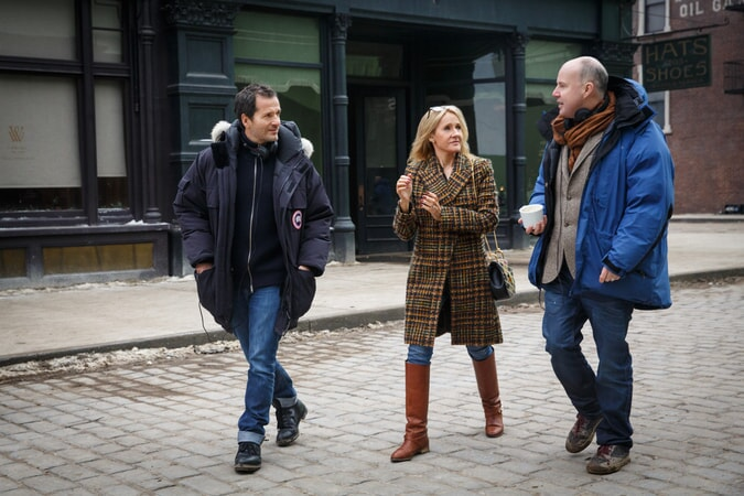 """Producer DAVID HEYMAN, screenwriter/producer J.K. ROWLING and director DAVID YATES on the set of Warner Bros. Pictures' fantasy adventure """"FANTASTIC BEASTS AND WHERE TO FIND THEM,"""" a Warner Bros. Pictures release."""