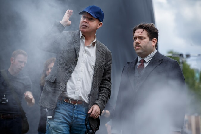 """Director DAVID YATES and DAN FOGLER on the set of Warner Bros. Pictures' fantasy adventure """"FANTASTIC BEASTS AND WHERE TO FIND THEM,"""" a Warner Bros. Pictures release."""