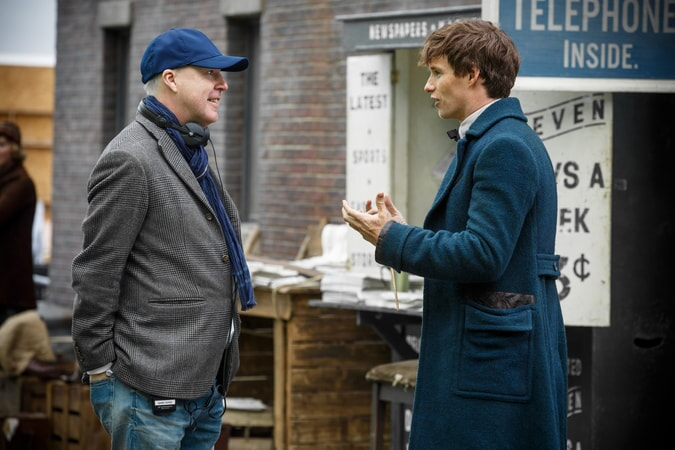 """Director DAVID YATES and EDDIE REDMAYNE on the set of Warner Bros. Pictures' fantasy adventure """"FANTASTIC BEASTS AND WHERE TO FIND THEM,"""" a Warner Bros. Pictures release."""