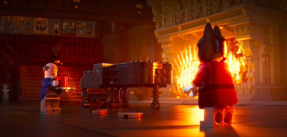 "(L-R) LEGO® minifigures Alfred (RALPH FIENNES) and Batman (WILL ARNETT) in the animated adventure ""The LEGO Batman Movie,"""