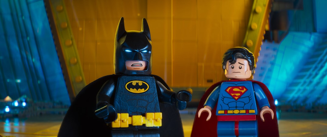 "(L-R) LEGO® minifigures Batman (WILL ARNETT) and Superman in the animated adventure ""The LEGO Batman Movie,"""