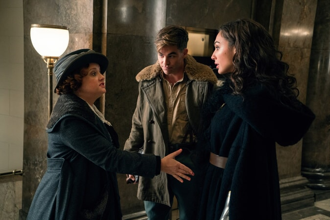 "LUCY DAVIS as Etta, CHRIS PINE as Steve Trevor and GAL GADOT as Diana in the action adventure ""WONDER WOMAN,"" a Warner Bros. Pictures release."