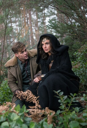 "CHRIS PINE as Captain Steve Trevor and GAL GADOT as Wonder Woman in Warner Bros. Pictures' action adventure ""WONDER WOMAN,"" a Warner Bros. Pictures release."