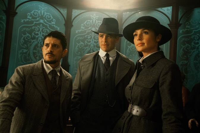 "SAÏD TAGHMAOUI as Sameer, CHRIS PINE as Steve Trevor and GAL GADOT as Diana in the action adventure ""WONDER WOMAN,"" a Warner Bros. Pictures release."