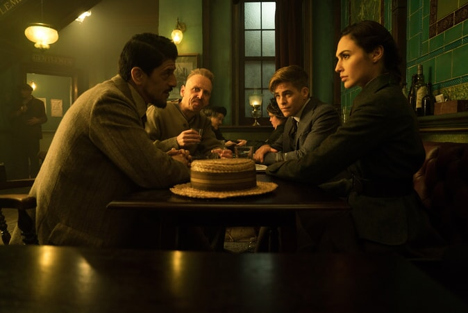 "SAÏD TAGHMAOUI as Sameer, EWEN BREMNER as Charlie, CHRIS PINE as Steve Trevor and GAL GADOT as Diana in the action adventure ""WONDER WOMAN,"" a Warner Bros. Pictures release."
