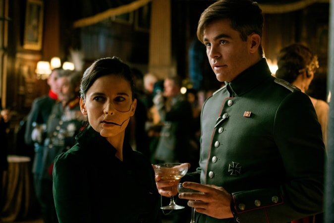 "ELENA ANAYA as Dr. Maru and CHRIS PINE as Steve Trevor in the action adventure ""WONDER WOMAN,"" a Warner Bros. Pictures release."