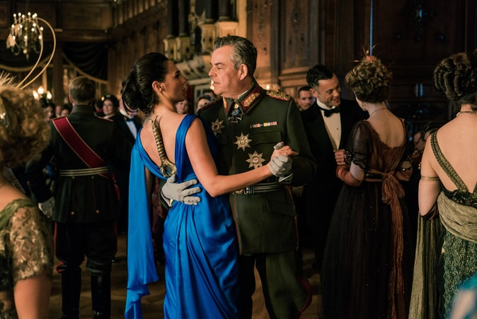 "GAL GADOT as Diana and DANNY HUSTON as Ludendorff in the action adventure ""WONDER WOMAN,"" a Warner Bros. Pictures release."