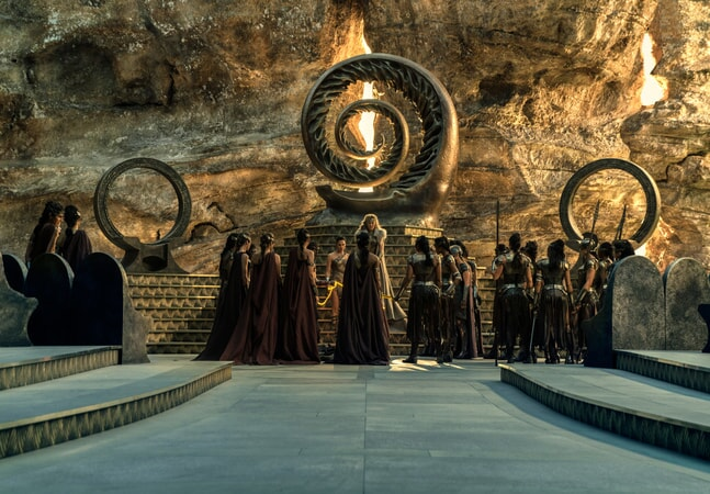 "(Center stairs L-R) GAL GADOT as Diana and CONNIE NIELSEN as Hippolyta in the action adventure ""WONDER WOMAN,"" a Warner Bros. Pictures release."