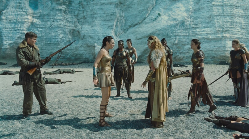 "CHRIS PINE as Steve Trevor, GAL GADOT as Diana and CONNIE NIELSEN as Hippolyta in the action adventure ""WONDER WOMAN,"" a Warner Bros. Pictures release."