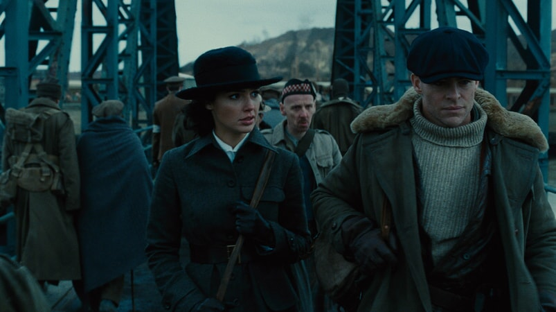 "GAL GADOT as Diana, EWEN BREMNER as Charlie and CHRIS PINE as Steve Trevor in the action adventure ""WONDER WOMAN,"" a Warner Bros. Pictures release."