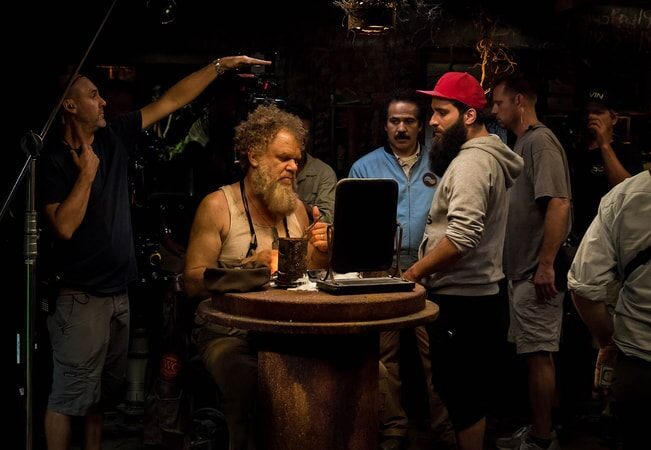 "JOHN C. REILLY, JOHN ORTIZ and director JORDAN VOGT-ROBERTS on the set of Warner Bros. Pictures', Legendary Pictures' and Tencent Pictures' action adventure ""KONG: SKULL ISLAND,"" a Warner Bros. Pictures release."